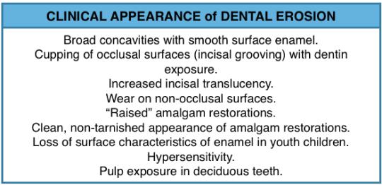 Clinical appearance of dental erosion