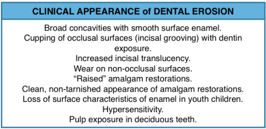 Clinical appearance of dental erosion